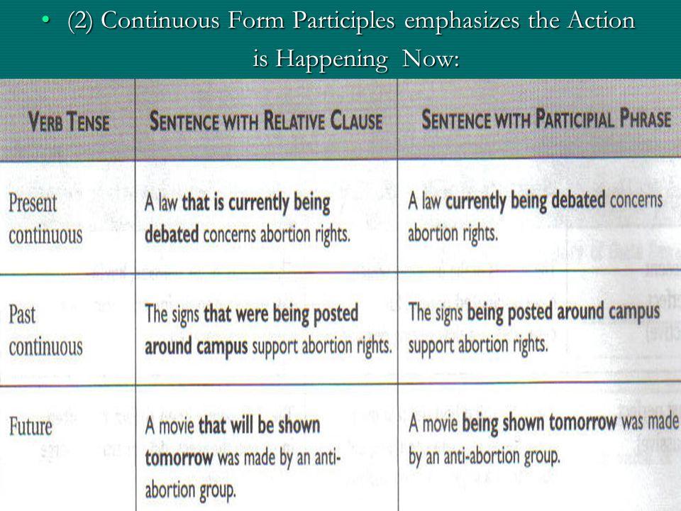 (2) Continuous Form Participles emphasizes the Action