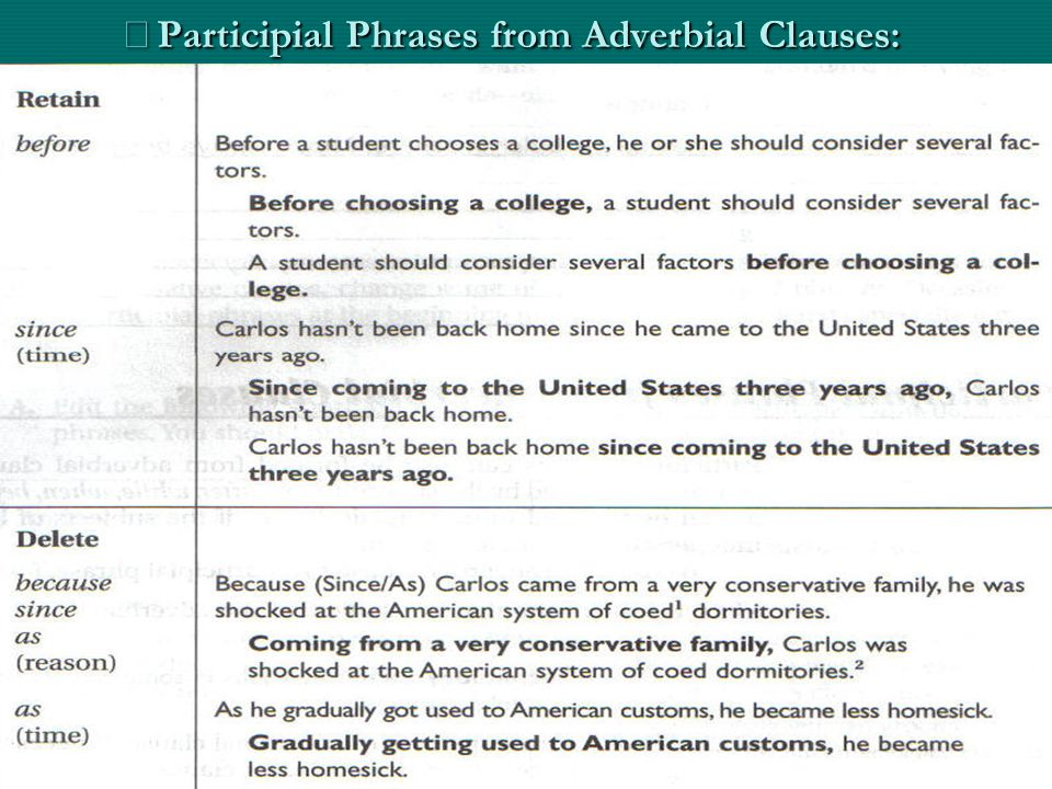※Participial Phrases from Adverbial Clauses: