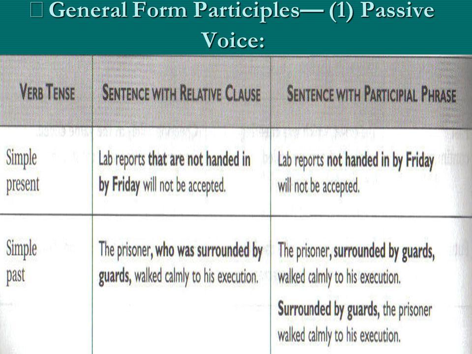 ※General Form Participles— (1) Passive Voice: