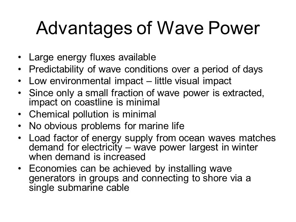 Advantages of Wave Power