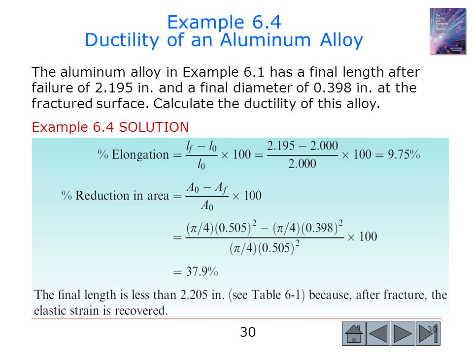 Example 6.4 Ductility of an Aluminum Alloy