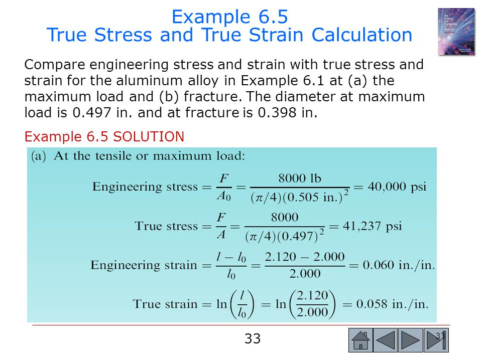 Example 6.5 True Stress and True Strain Calculation