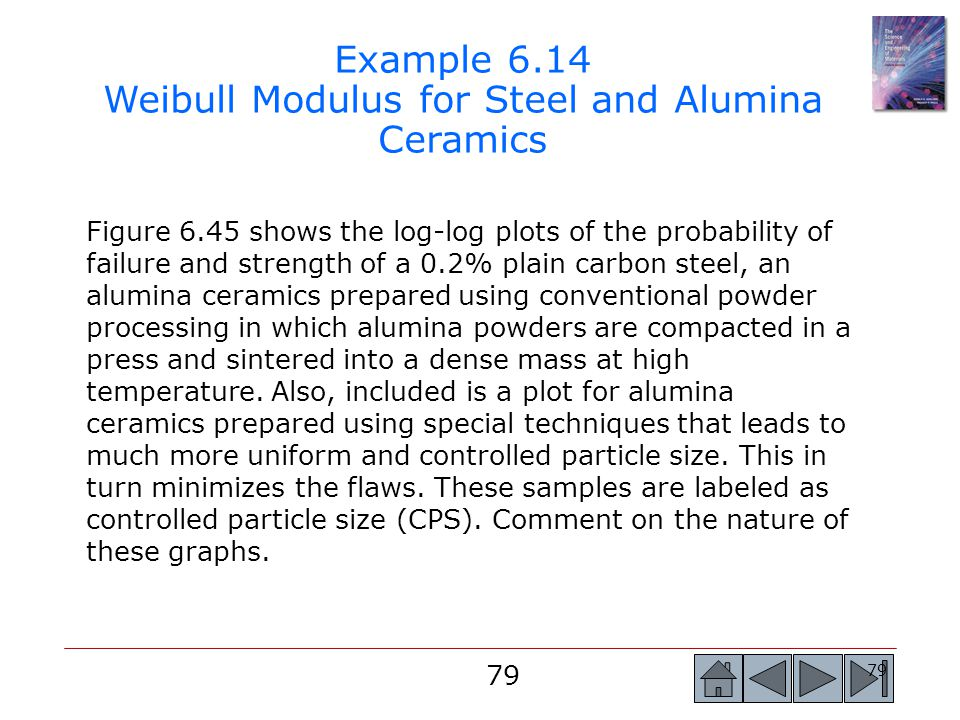 Example 6.14 Weibull Modulus for Steel and Alumina Ceramics
