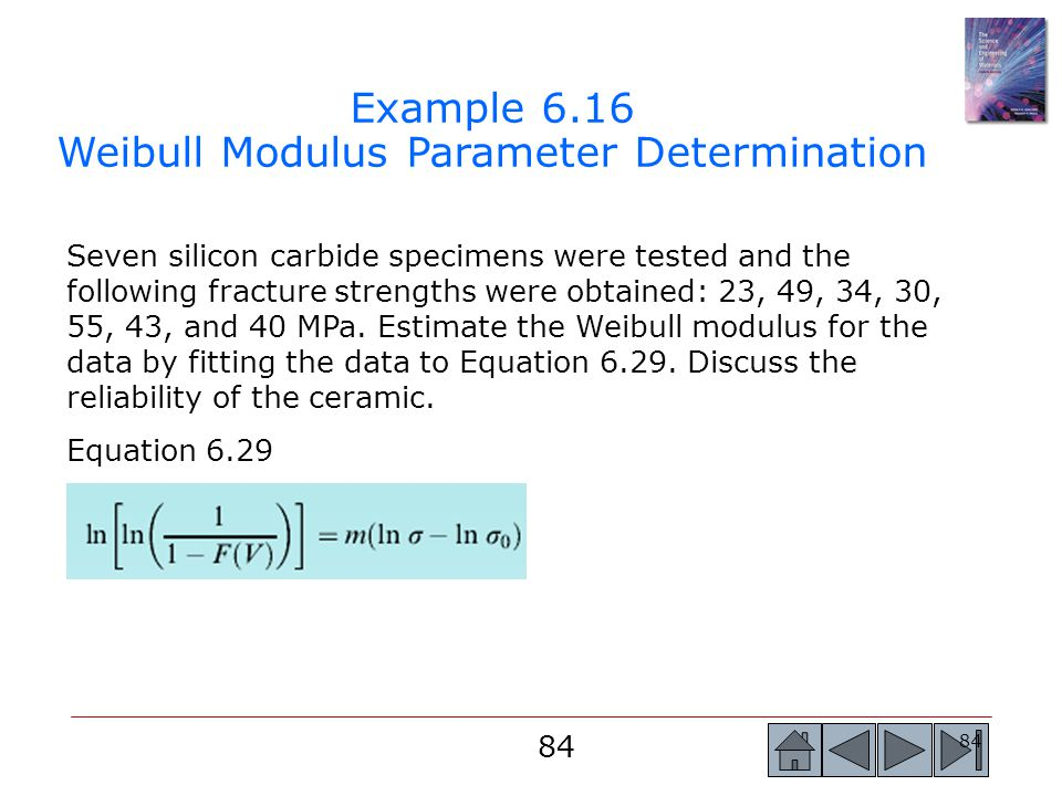 Example 6.16 Weibull Modulus Parameter Determination