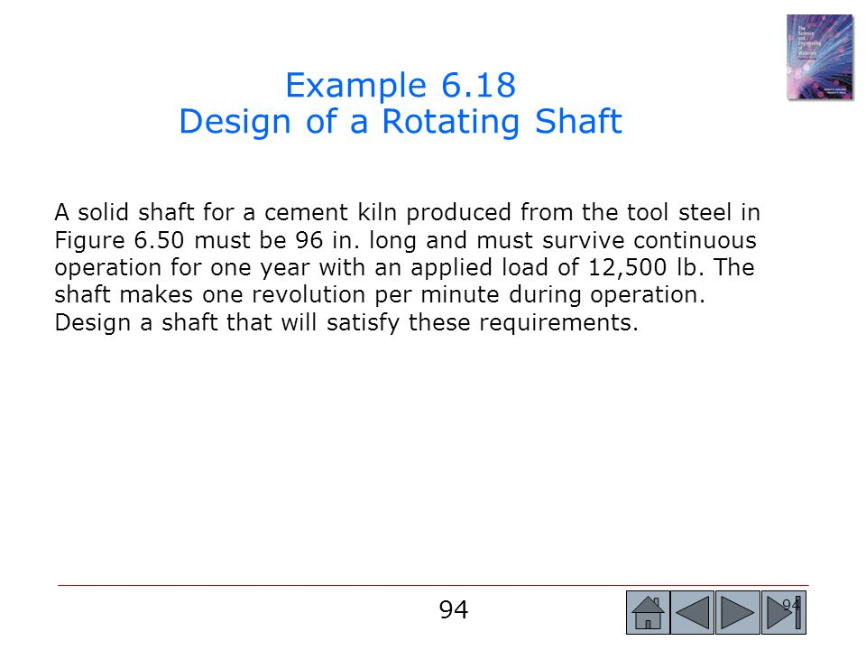 Example 6.18 Design of a Rotating Shaft