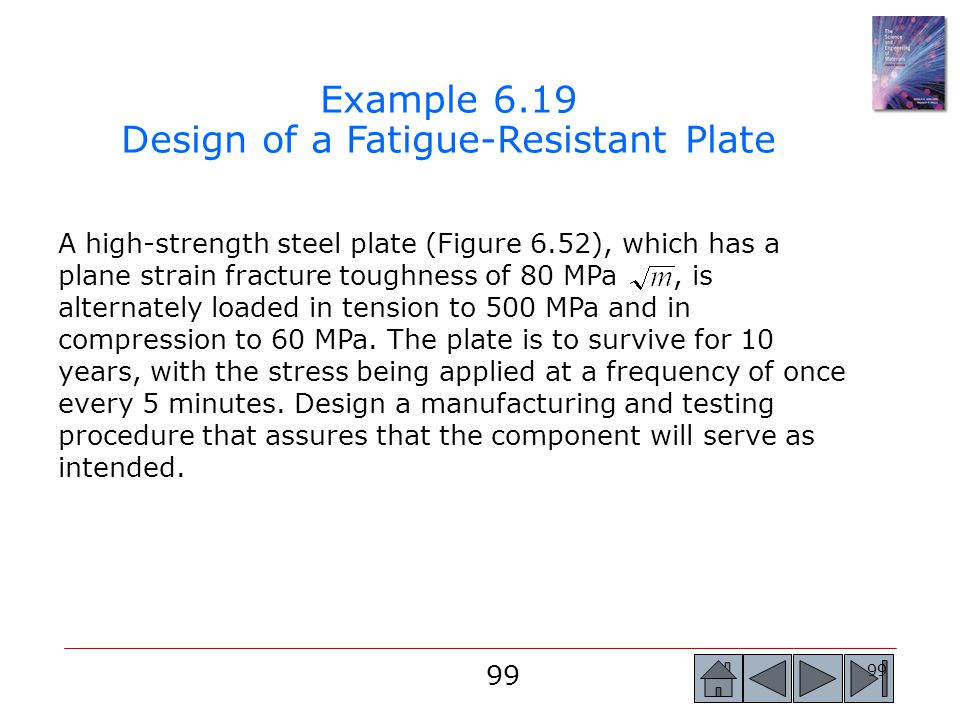 Example 6.19 Design of a Fatigue-Resistant Plate