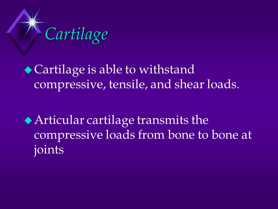 Cartilage Cartilage is able to withstand compressive, tensile, and shear loads.