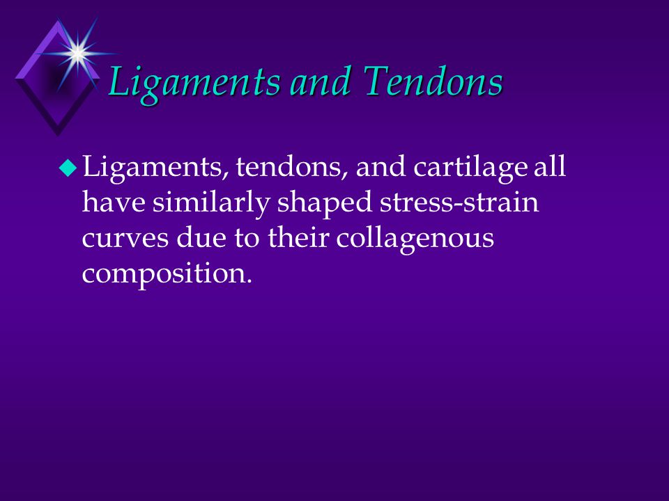 Ligaments and Tendons Ligaments, tendons, and cartilage all have similarly shaped stress-strain curves due to their collagenous composition.