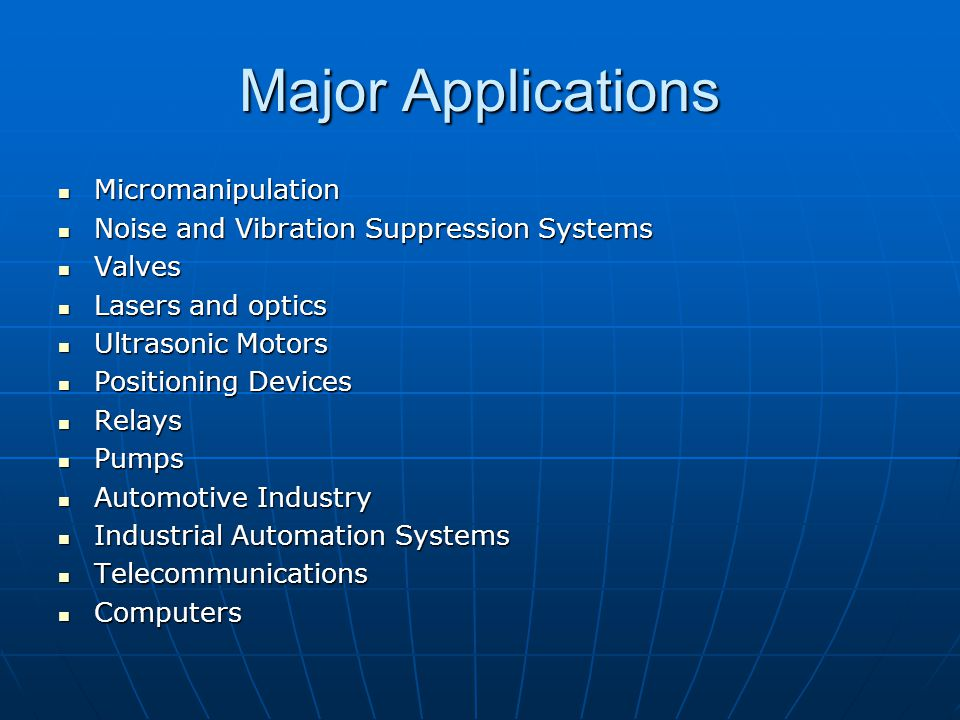 Major Applications Micromanipulation