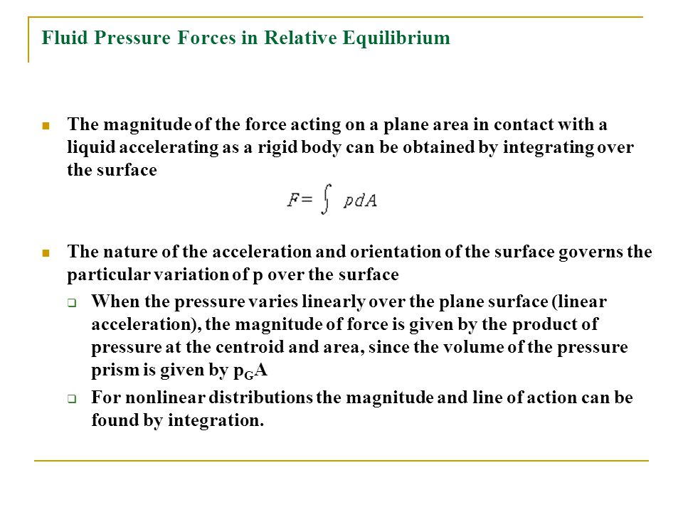 Fluid Pressure Forces in Relative Equilibrium