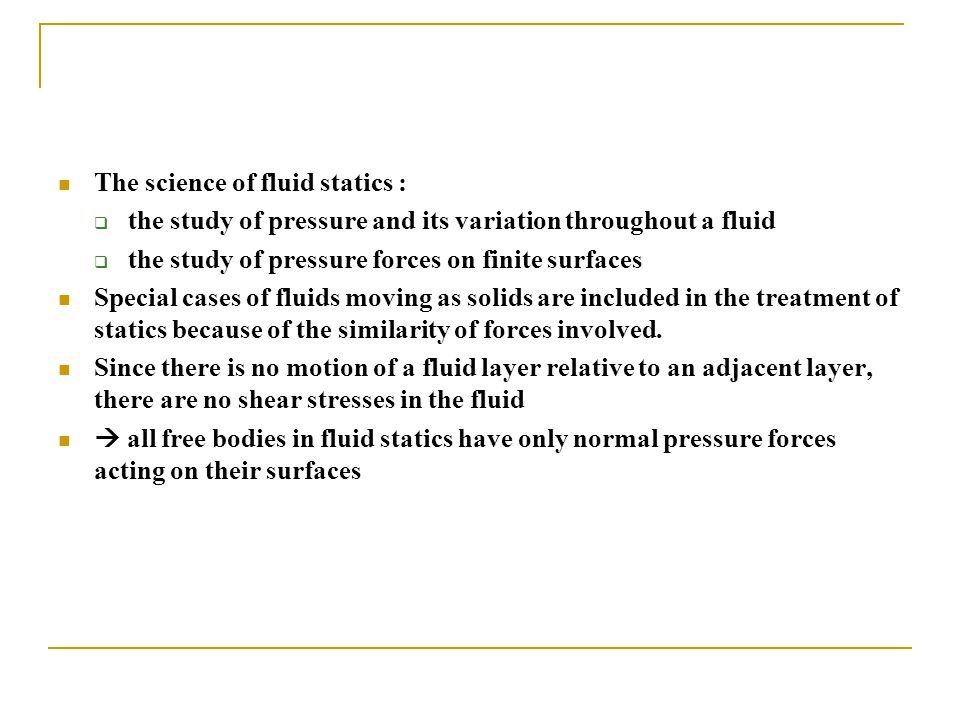 The science of fluid statics :