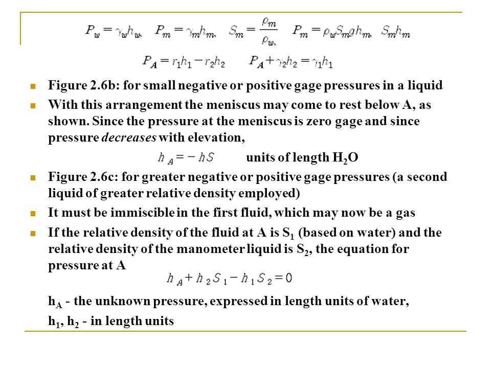 Figure 2.6b: for small negative or positive gage pressures in a liquid