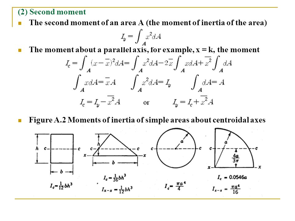 (2) Second moment The second moment of an area A (the moment of inertia of the area)