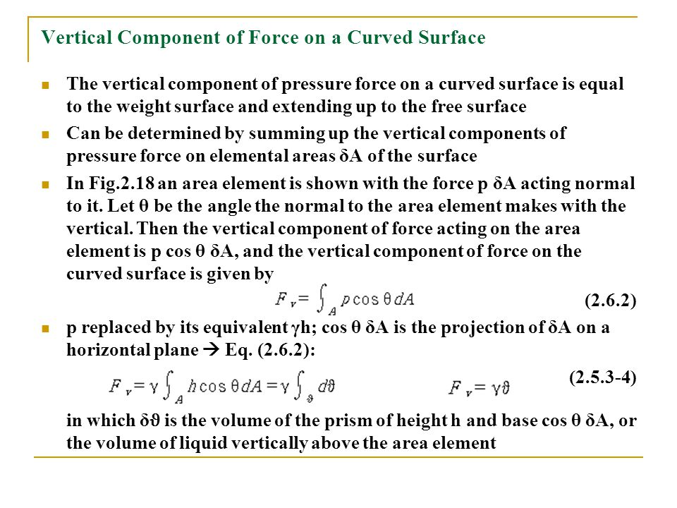 Vertical Component of Force on a Curved Surface