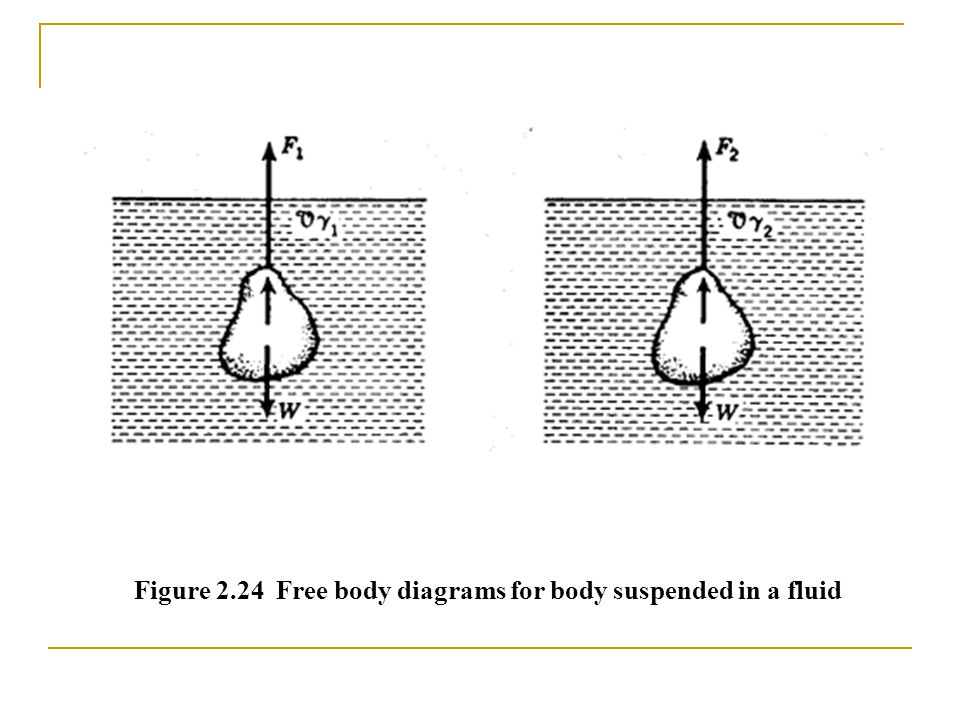 Figure 2.24 Free body diagrams for body suspended in a fluid