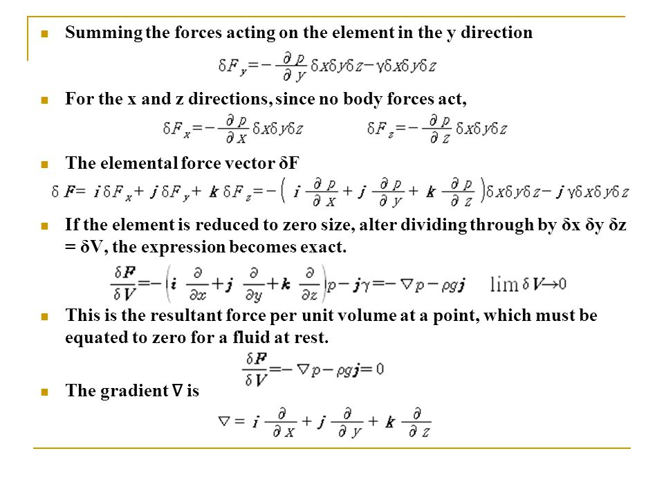 Summing the forces acting on the element in the y direction