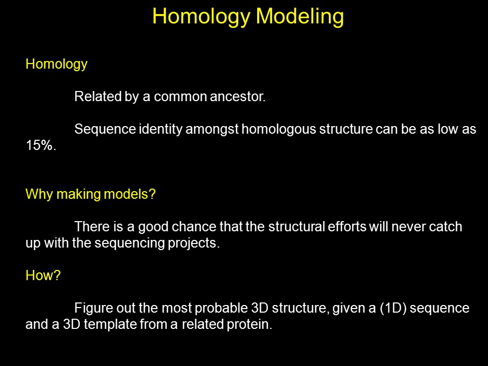 Homology Modeling Homology Related by a common ancestor.