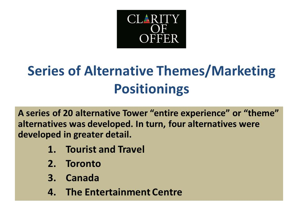Series of Alternative Themes/Marketing Positionings