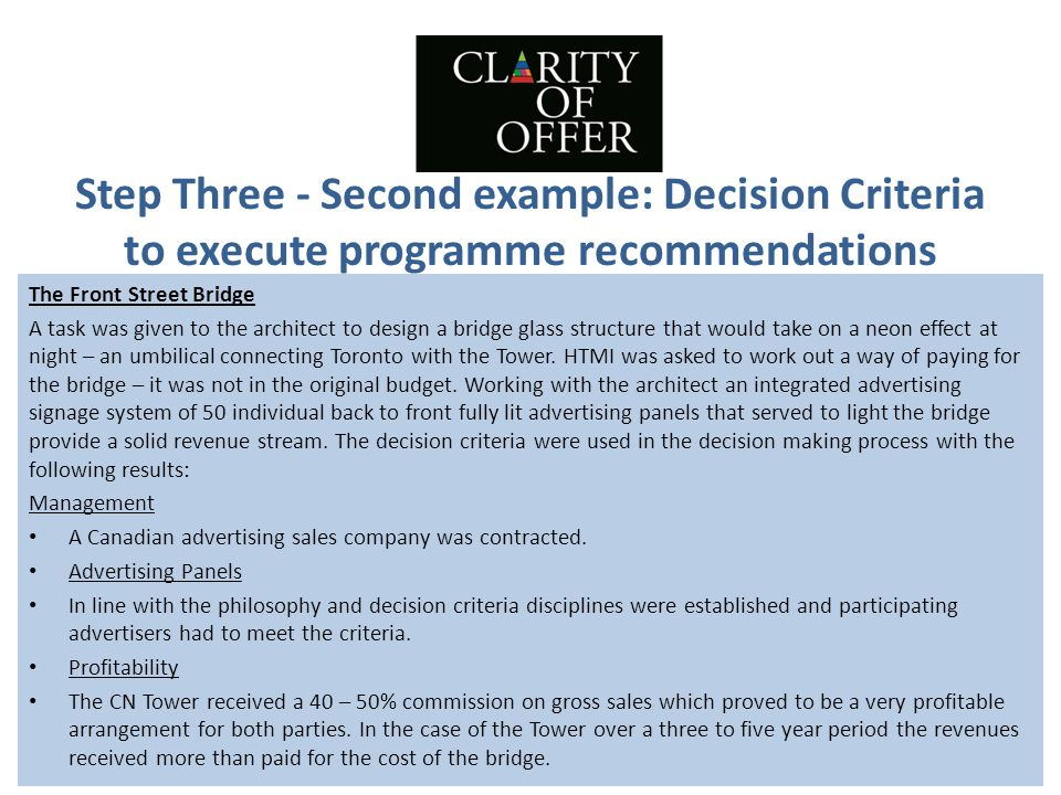 Step Three - Second example: Decision Criteria to execute programme recommendations