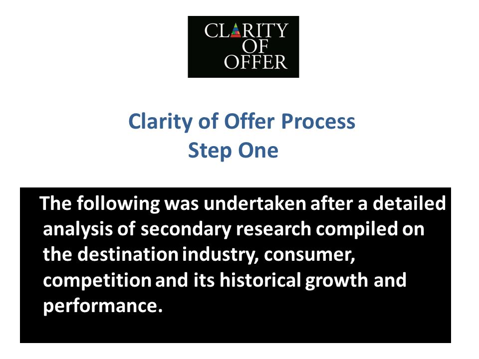 Clarity of Offer Process Step One