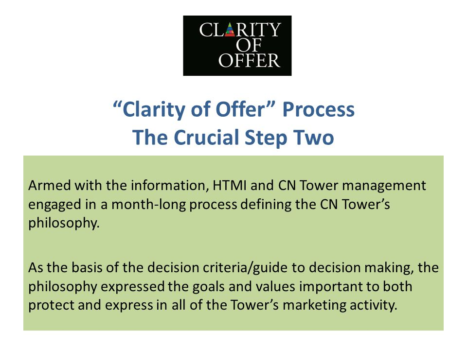 Clarity of Offer Process The Crucial Step Two