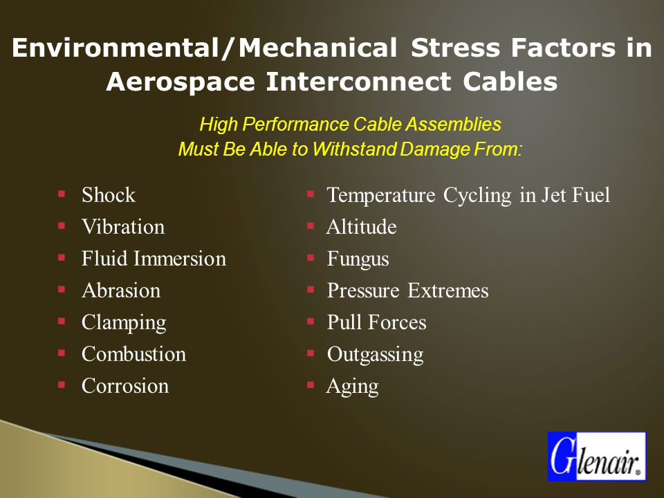 Environmental/Mechanical Stress Factors in Aerospace Interconnect Cables