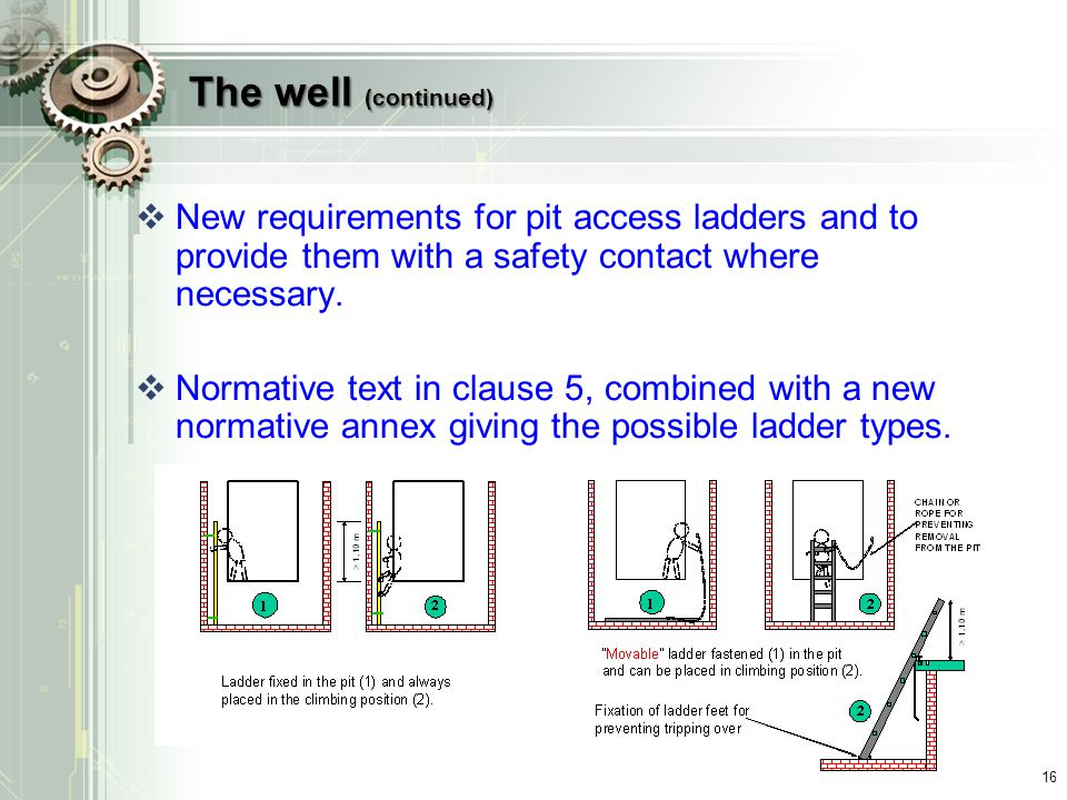 The well (continued) New requirements for pit access ladders and to provide them with a safety contact where necessary.