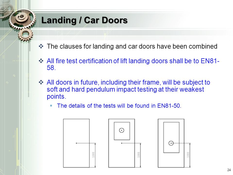 Landing / Car Doors The clauses for landing and car doors have been combined. All fire test certification of lift landing doors shall be to EN81-58.
