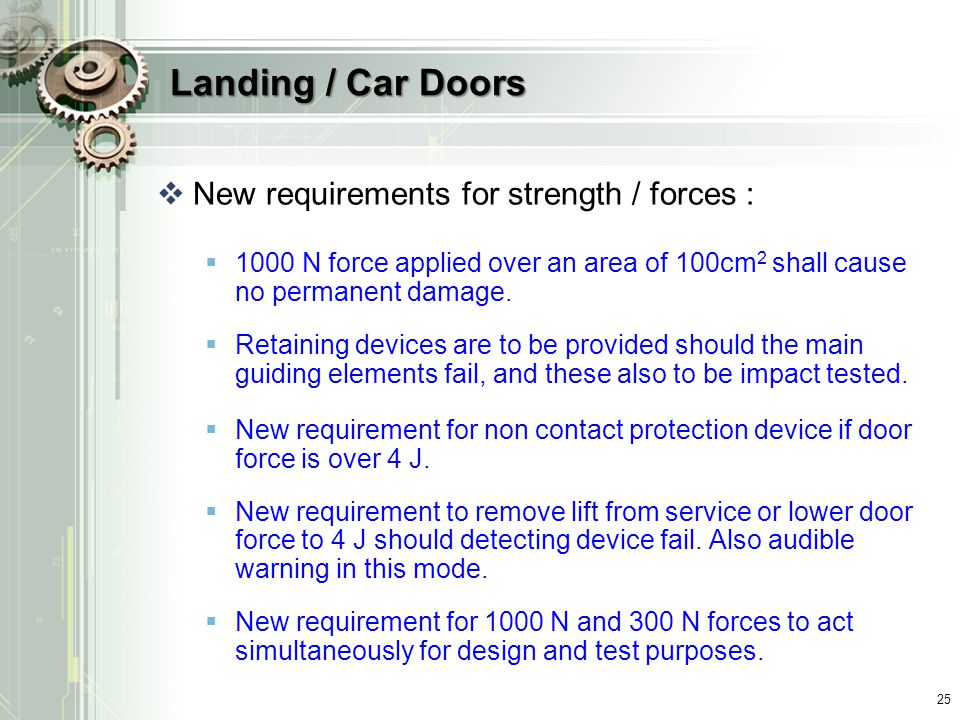Landing / Car Doors New requirements for strength / forces :