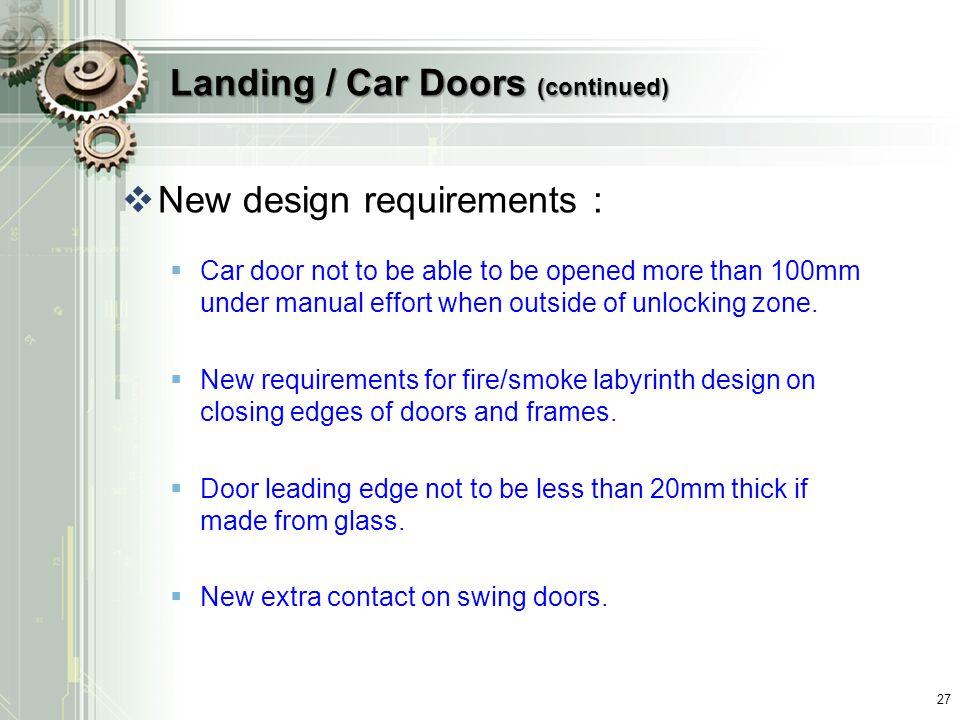 Landing / Car Doors (continued)
