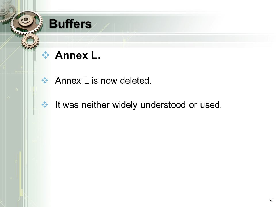 Buffers Annex L. Annex L is now deleted.