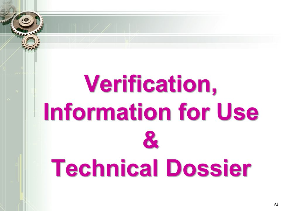 Verification, Information for Use
