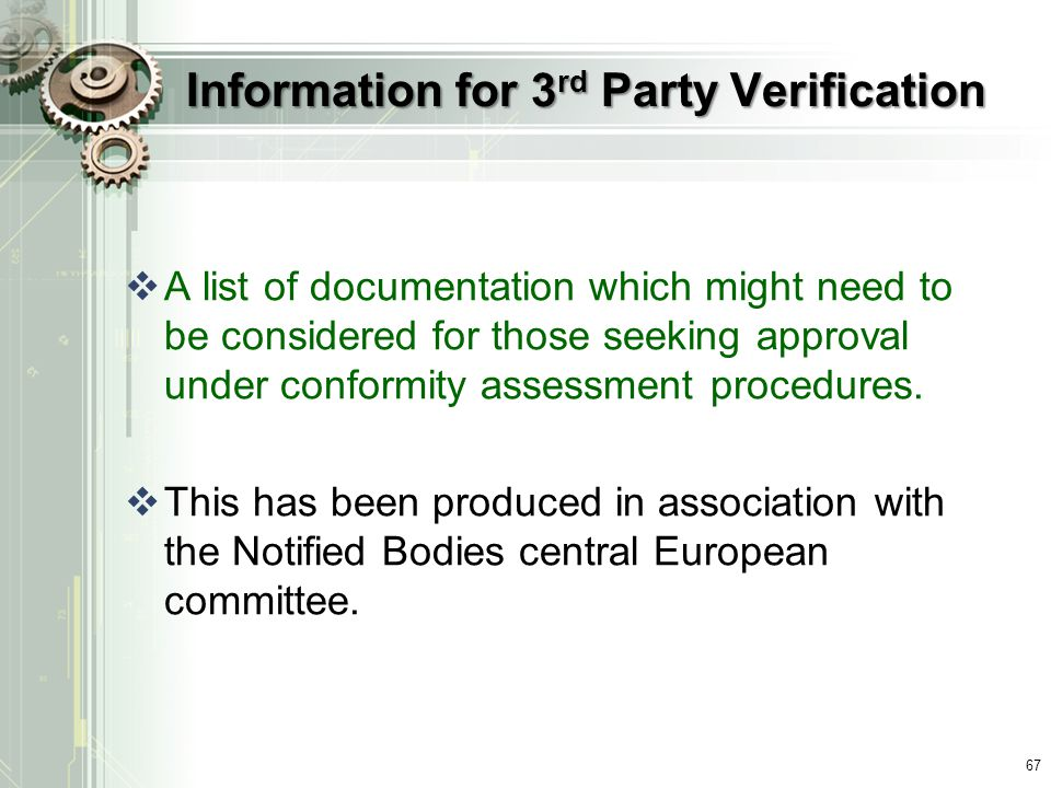 Information for 3rd Party Verification