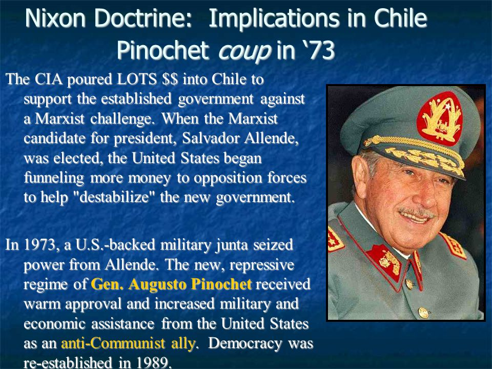 Nixon Doctrine: Implications in Chile Pinochet coup in '73