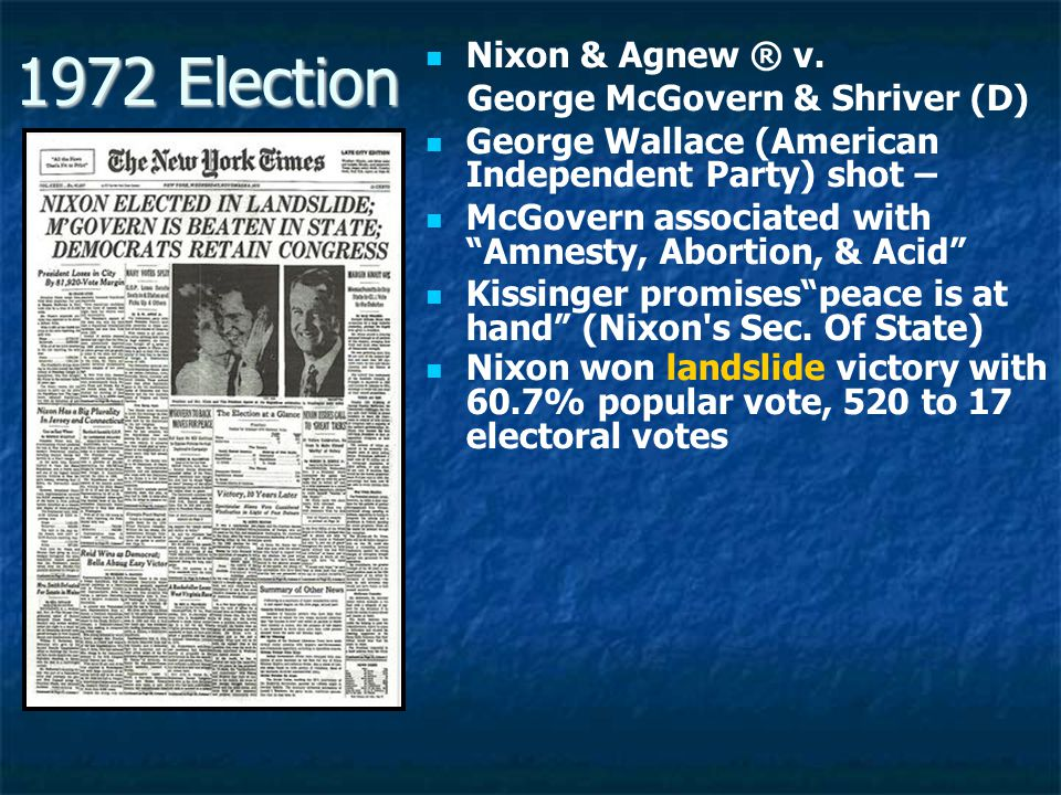 1972 Election Nixon & Agnew ® v. George McGovern & Shriver (D)