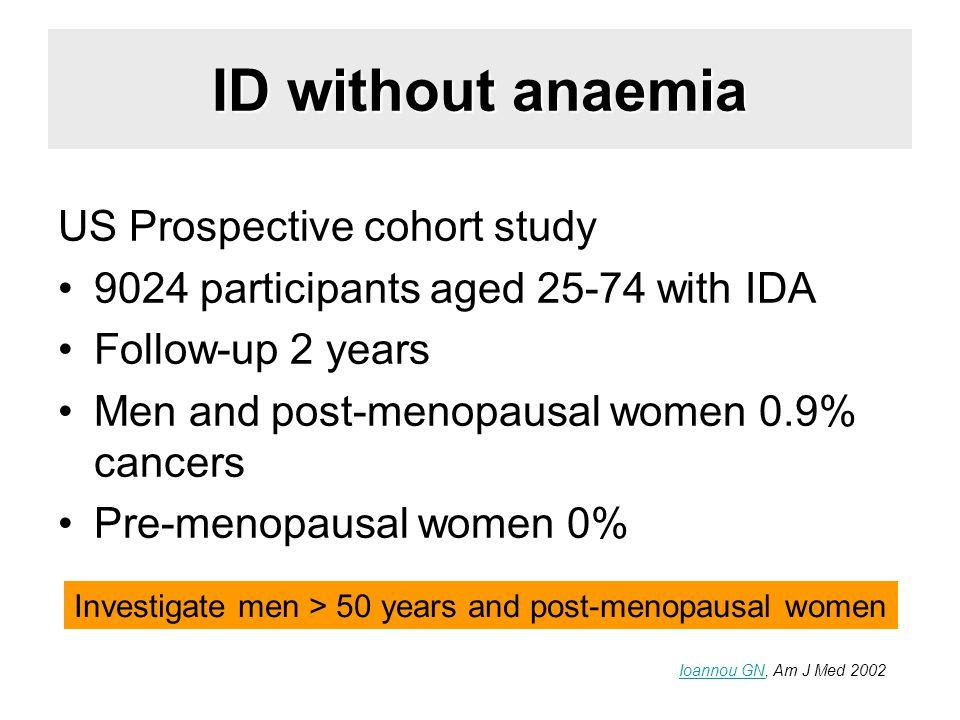ID without anaemia US Prospective cohort study