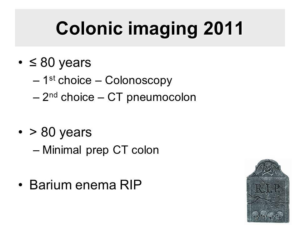 Colonic imaging 2011 ≤ 80 years > 80 years Barium enema RIP