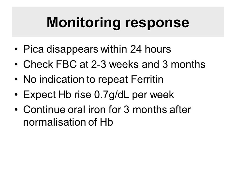 Monitoring response Pica disappears within 24 hours