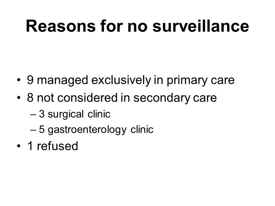 Reasons for no surveillance
