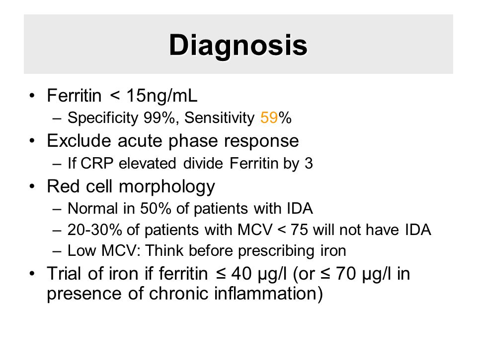 Diagnosis Ferritin < 15ng/mL Exclude acute phase response