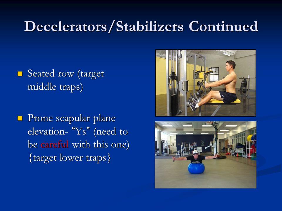 Decelerators/Stabilizers Continued