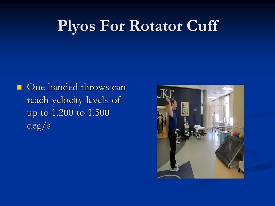 Plyos For Rotator Cuff One handed throws can reach velocity levels of up to 1,200 to 1,500 deg/s