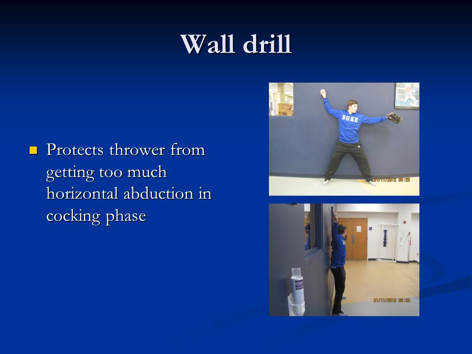 Wall drill Protects thrower from getting too much horizontal abduction in cocking phase