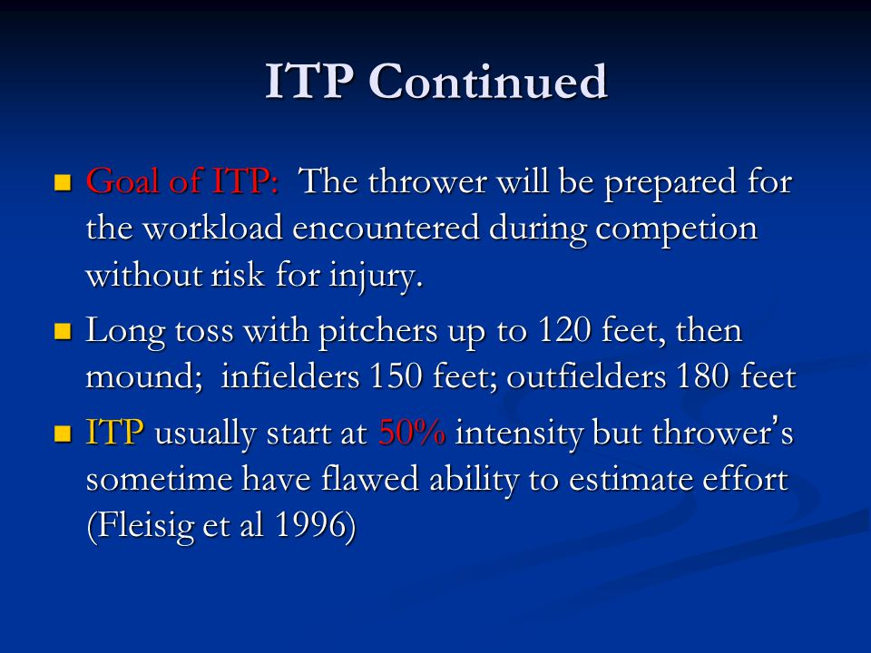 ITP Continued Goal of ITP: The thrower will be prepared for the workload encountered during competion without risk for injury.