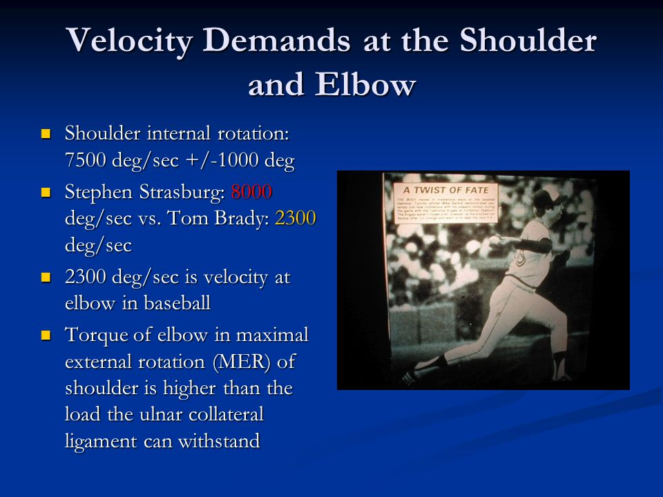 Velocity Demands at the Shoulder and Elbow