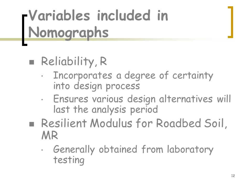 Variables included in Nomographs