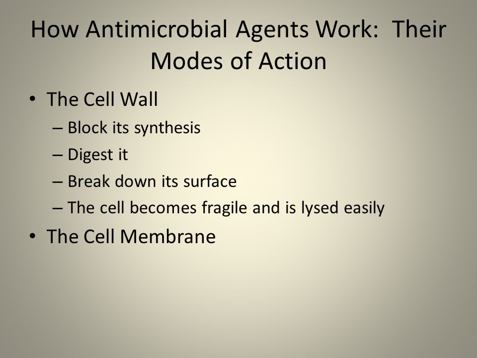 How Antimicrobial Agents Work: Their Modes of Action