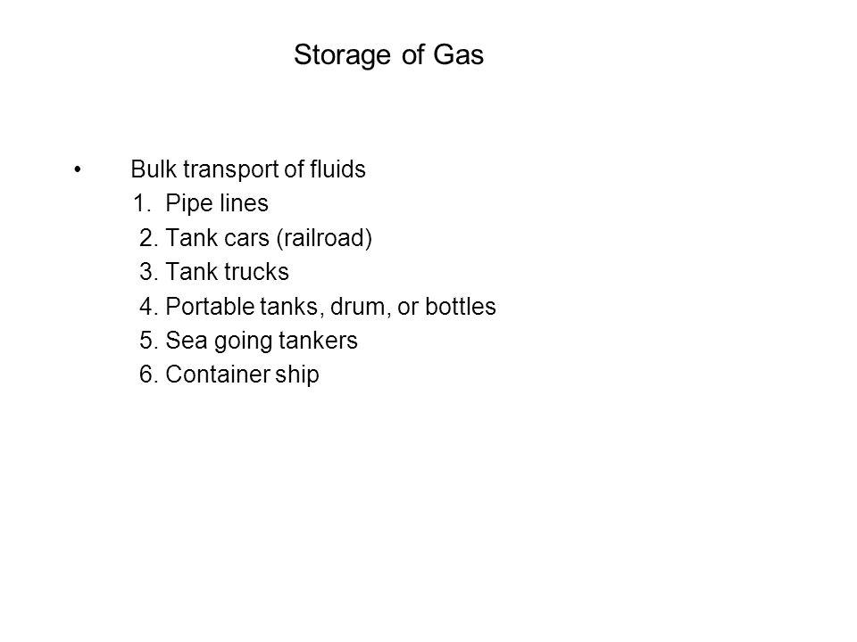 Storage of Gas Bulk transport of fluids 1. Pipe lines