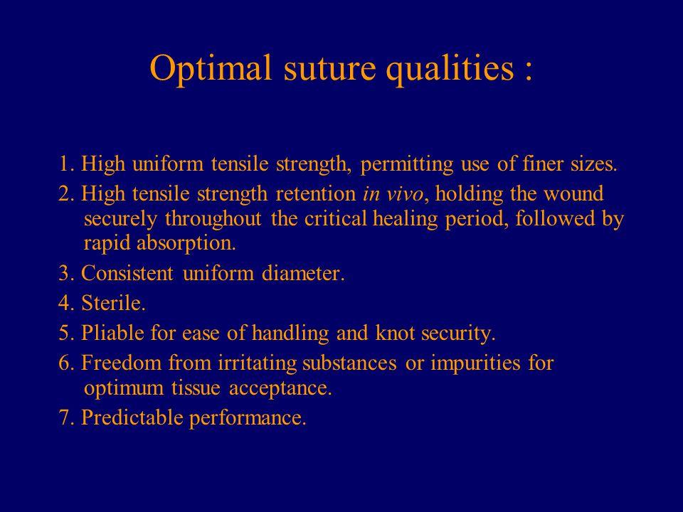 Optimal suture qualities :
