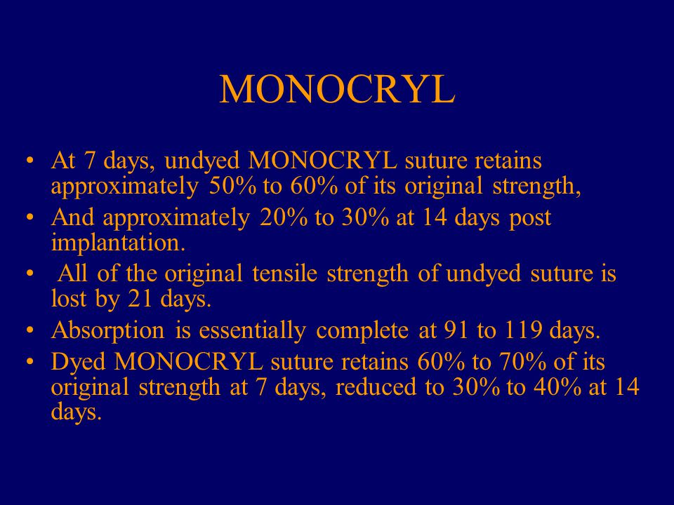 MONOCRYL At 7 days, undyed MONOCRYL suture retains approximately 50% to 60% of its original strength,